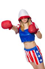 Female boxer isolated on the white background