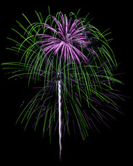 Green & Purple Fireworks Isolated