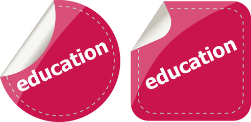 education stickers set on white, icon button isolated on white