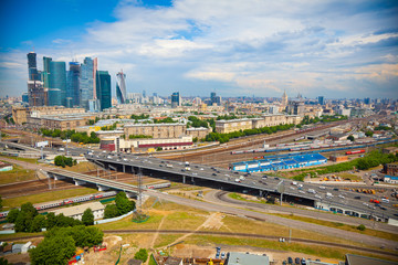 View of Moscow and a business center Moscow-City