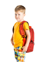 confused boy with backpack