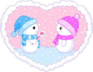 two follow in love snowmans