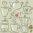 set cup of hot drink, vector