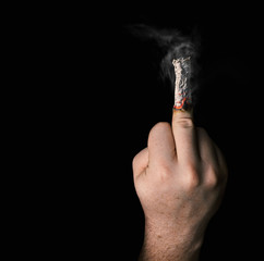 stop smoking concept. cigarette like a middle finger