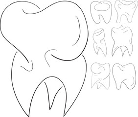 Set of sketches teeth