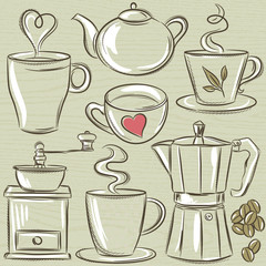 set cup of hot drink, vector
