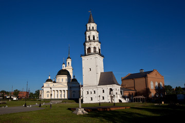 Leaning Tower and the Spaso-Preobrazhensky Cathedral. Nevyansk.