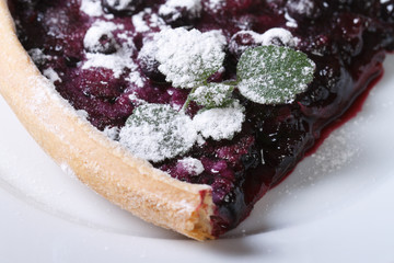 a piece of blueberry pie with mint and powdered sugar