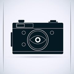 Retro photo camera vector silhouette