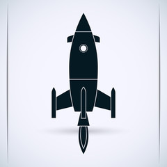Cartoon rocket vector silhouette