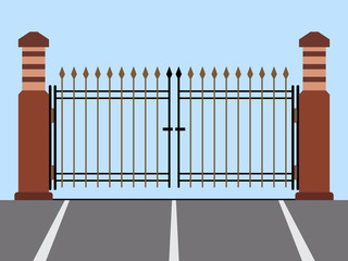 Metal gate flat vector illustration