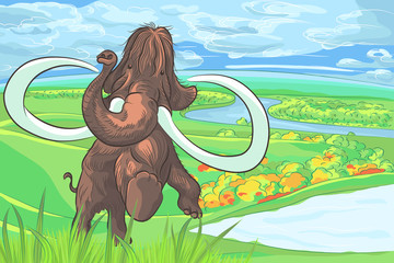 vector mammoth in a landscape with a river