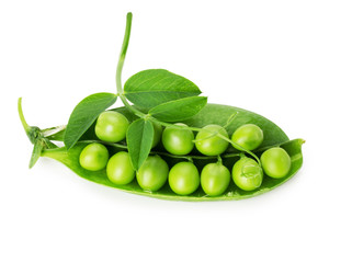 fresh green peas on the white background