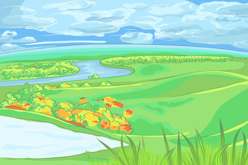 vector European flat landscape with river