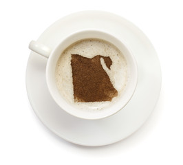 Cup of coffee with foam and powder in the shape of Egypt.(series