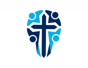 religious team cross logo,people abstract symbol icon