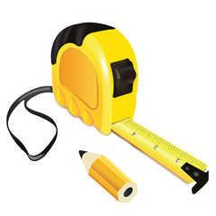 Yellow roulette measure building tool with pencil