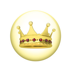 Gold crown. Spherical glossy button