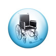 Black wheelchair. Spherical glossy button