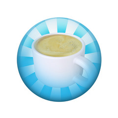 Coffee cup. Spherical glossy button