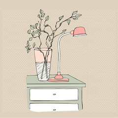 illustrated bedside table