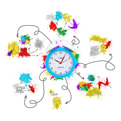 Alarm clock with colored business sketches