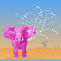 vector of the pink elephant pours water from the trunk