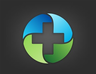 medicine logo,foundation health medical icon,plus nature symbol