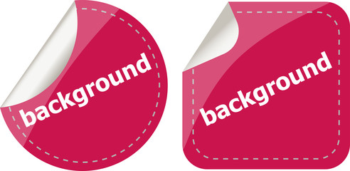 background word on stickers button set, label