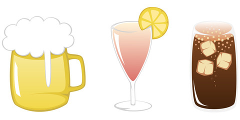 Simple flat illustration of three popular summertime drinks
