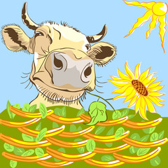 Vector funny cow chewing a flower