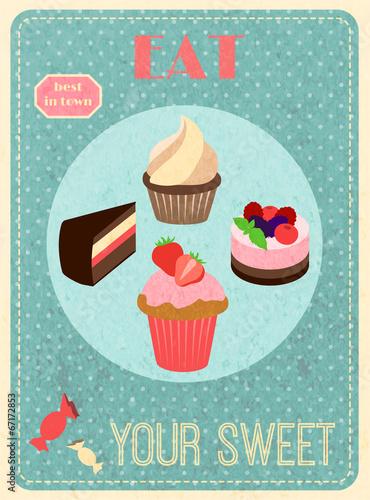 Plakat Sweets retro poster