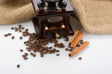 Part of coffee grinder with beans