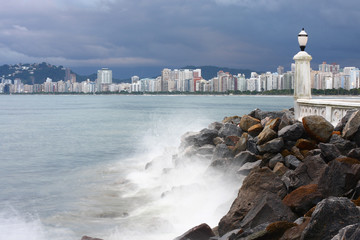 View of Santos from Ponta da Praia in a cloudy day