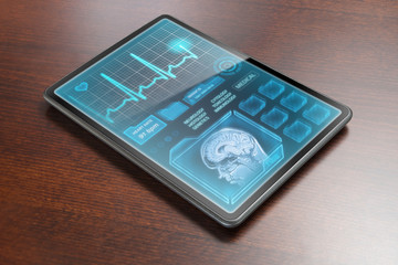 Medical tablet on desk