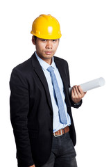 Asian engineer man hold a roll of blueprint
