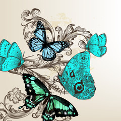 Vector back with butterflies in vintage style