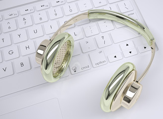 Metal headphones on the keyboard