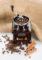 Coffee mill with texture and beans