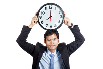 Asian office man smile show a clock over his head