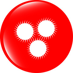 Empty white abstract circles on web button (icon) isolated