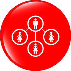 icon button with network of man inside, isolated on white