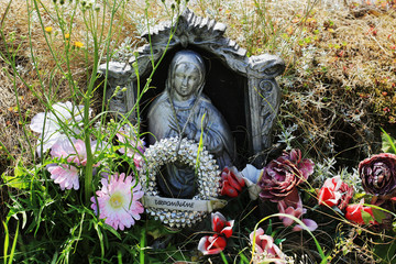 Madonna on the old village Cemetery, Czech Republic