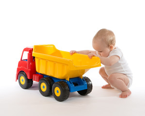 Infant child baby boy toddler big toy car truck red yellow