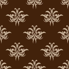 Brown seamless floral pattern in damask style