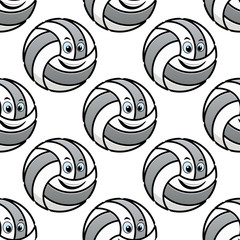 Seamless pattern of cartoon volleyballs