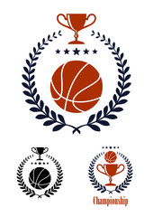 Basketball sporting emblems and symbols