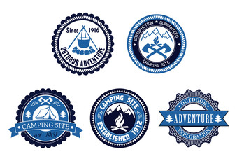 Set of Outdoor Adventure and Camping emblems