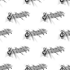Music score and notes background seamless pattern