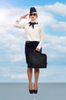 stewardess standing on runway